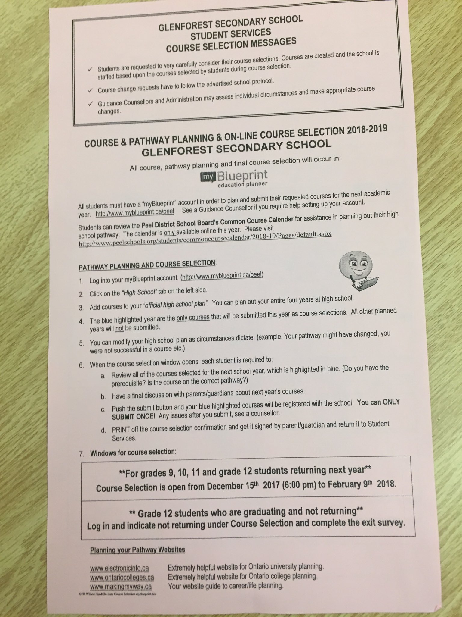 Glenforest guidance on twitter course selection sheets for 2018 19 malvernweather Images