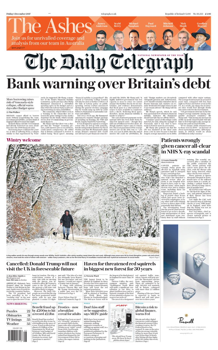 The telegraph on twitter the front page of tomorrows daily the telegraph on twitter the front page of tomorrows daily telegraph bank warnings over britains debt tomorrowspaperstoday ccuart Image collections