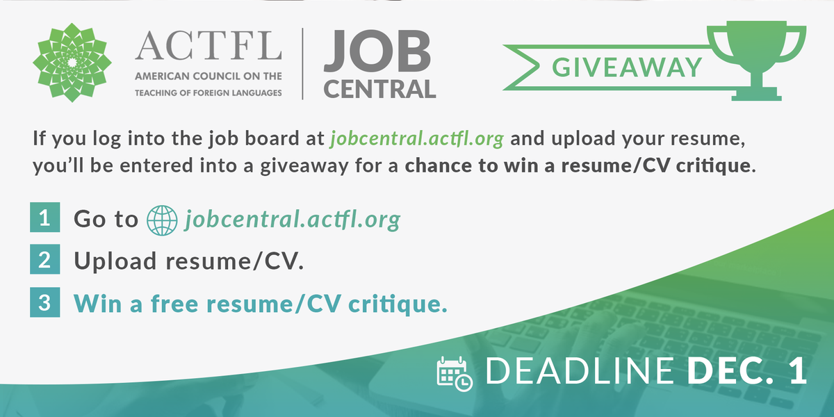 Actfl On Twitter Upload Your Resume Cv To Our Job Board By Dec 1