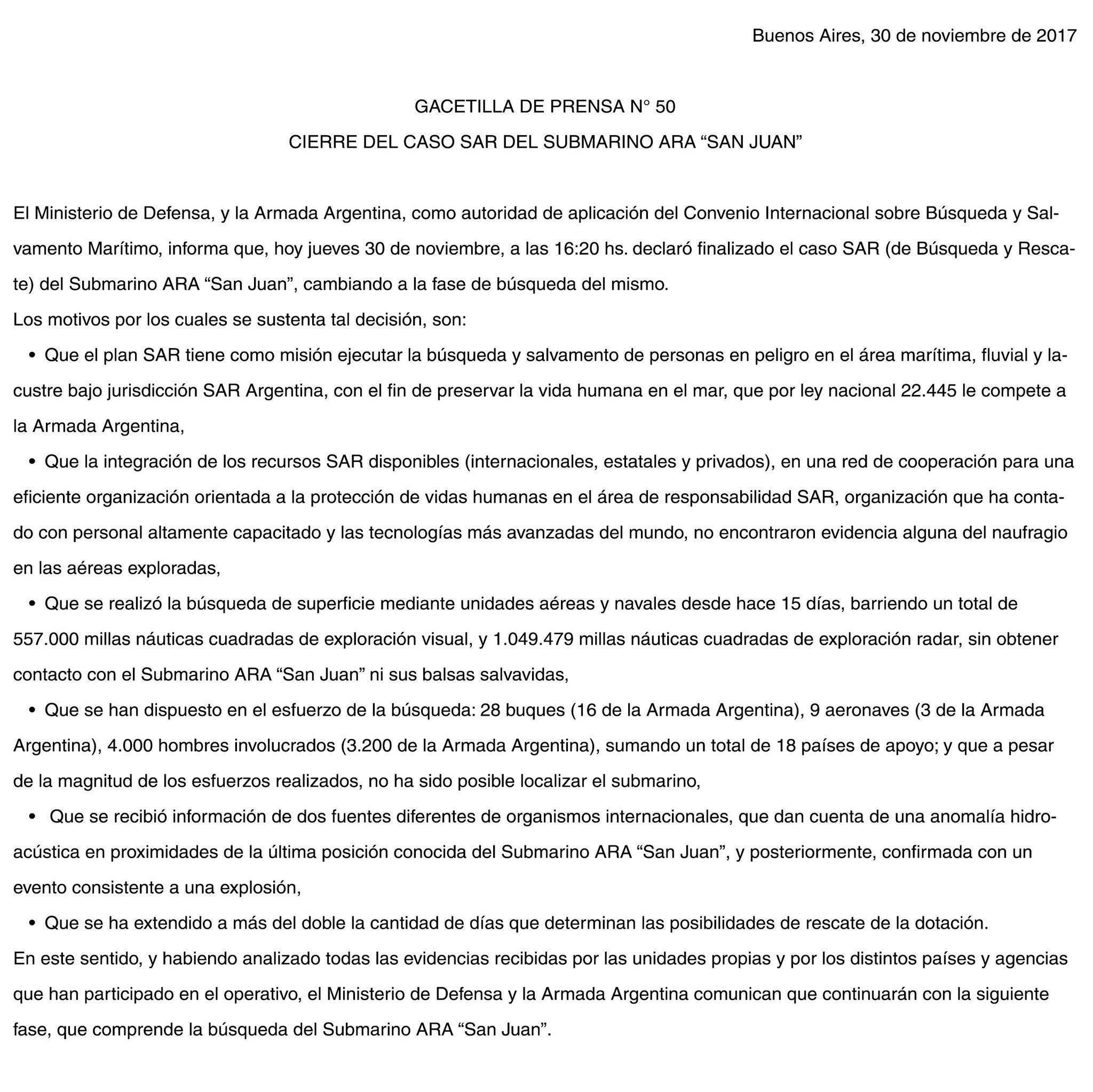 ARA San Juan: Finalizó el operativo SAR de rescate de los ...