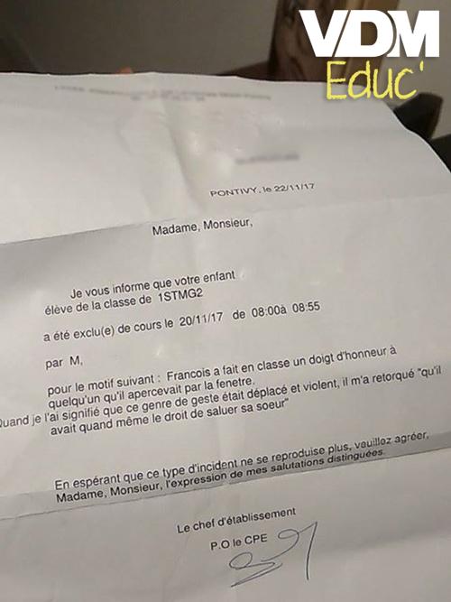 Exclusion pour François !   @VDM_Educ #viedemerde