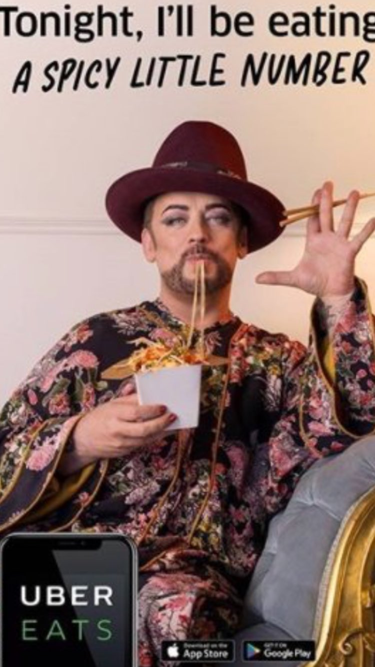 Image result for boy george ubereats ad