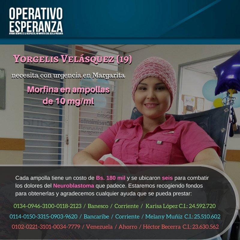 #ServicioPúblico | Yorgelis Velásquez necesita Morfina en ampollas de 10mg/ml
