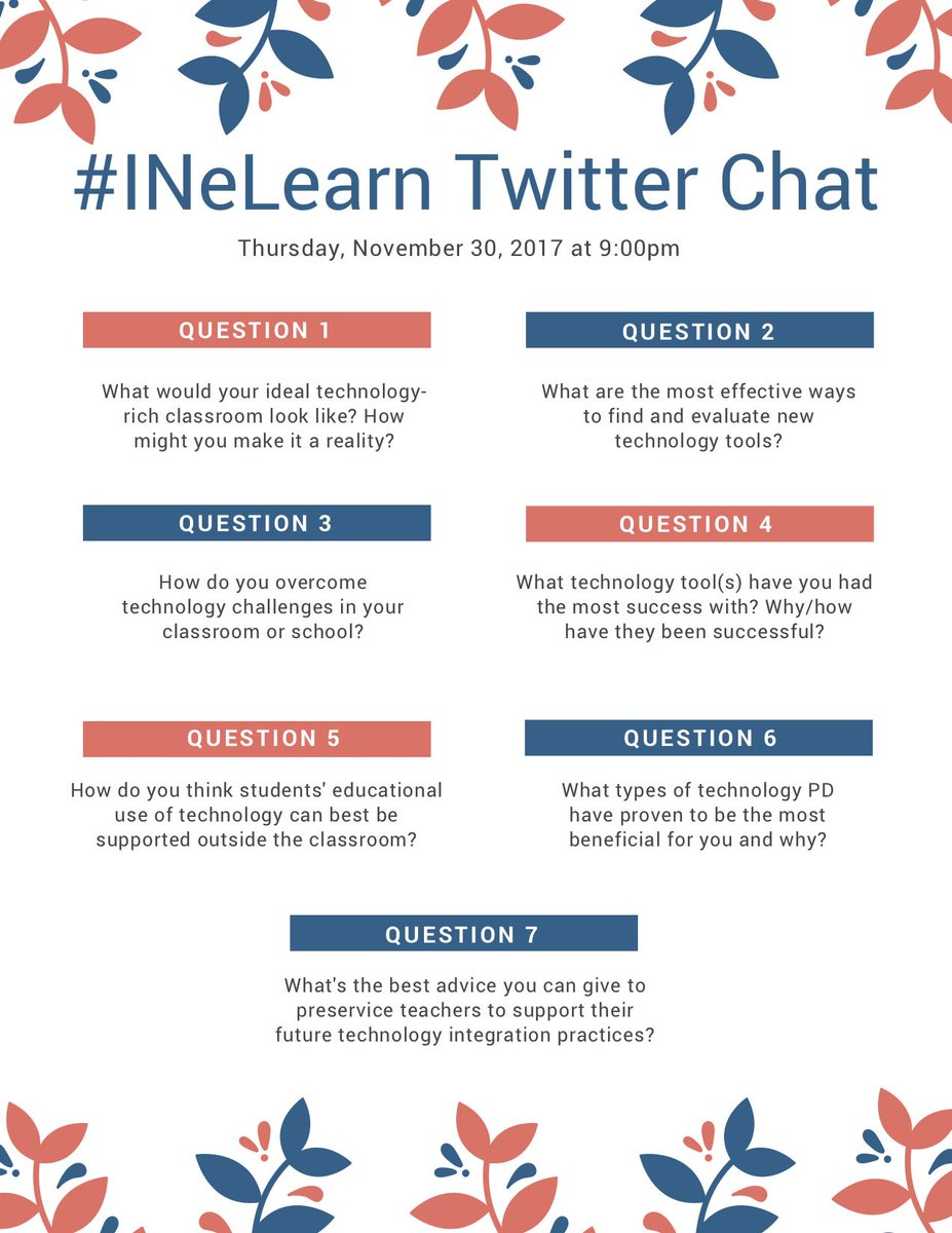 Here are the questions for the twitter chat happening in 20 minutes! #INeLearn