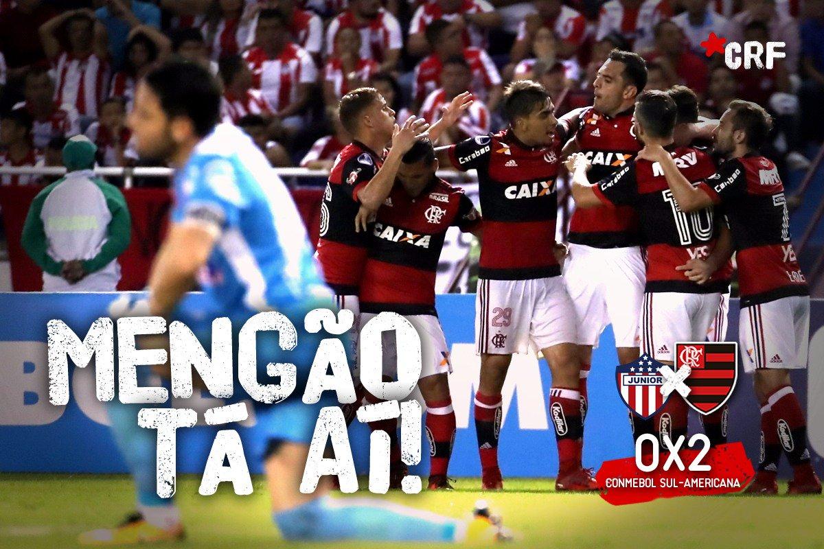 Muita raça, dedicação, sacrifício, dois gols de Felipe Vizeu e César pegando pênalti! #MengãoTáAí na decisão da Conmebol Sul-Americana. Foi #PorNossaNação!