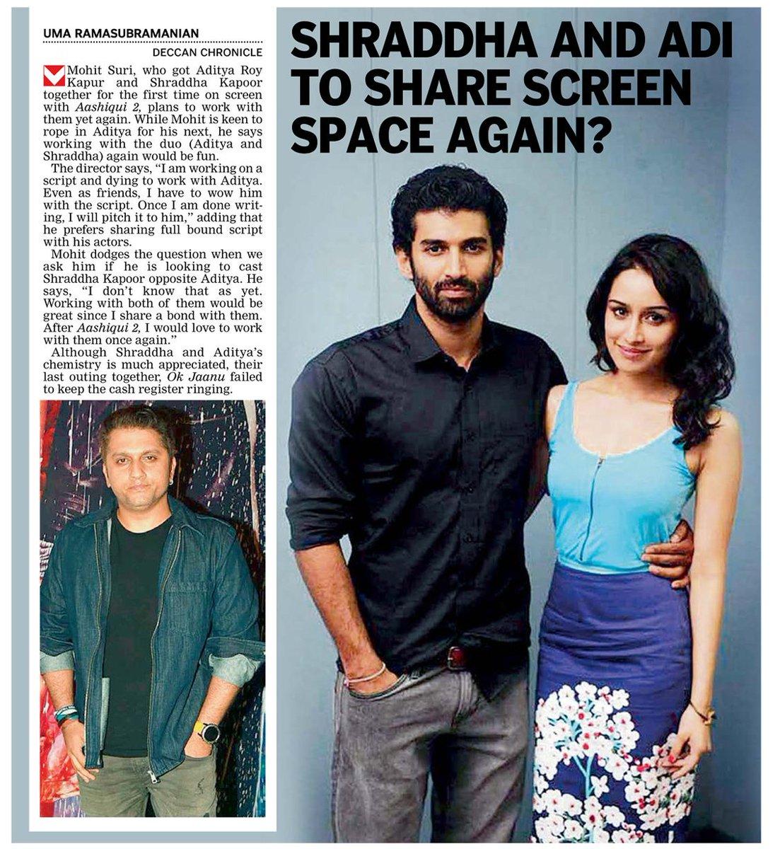 [SCAN]: @ShraddhaKapoor & Aditya To Share Screen Space Again?