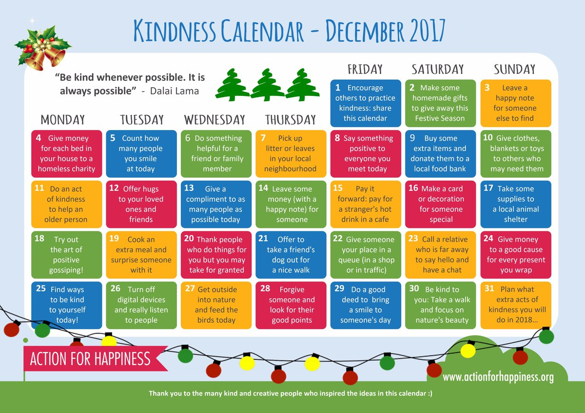 Image result for action for happiness kindness calendar