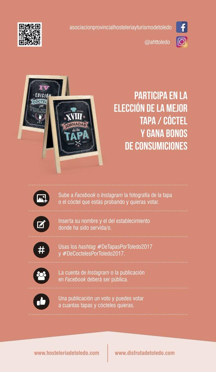 Recuerda votar tu tapa y cóctel favoritos, ¡que el domingo finalizan las Jornadas! #DeTapasPorToledo #DeCoctelesPorToledo https://t.co/w6dtnm58Pe