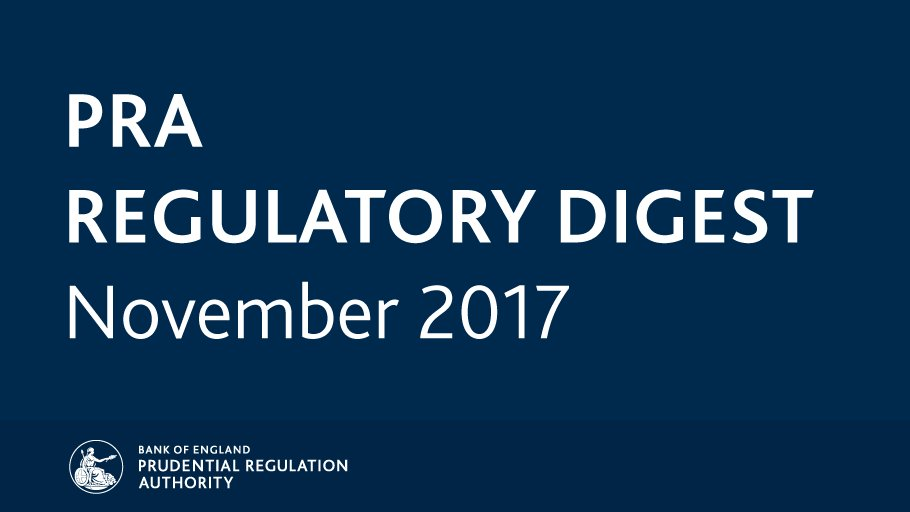 Catch up on November key regulatory news and publications with the #PRARegulatoryDigest: https://t.co/tfSUxNZxrn https://t.co/uVlVhxrXaC