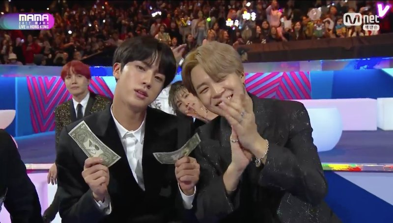 [#2017MAMA] #BTS #Jimin and #Jin with his money money