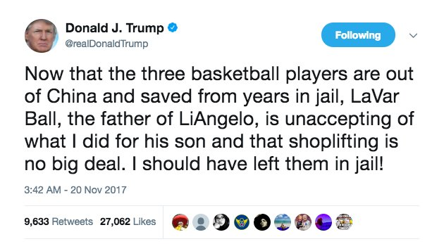 #BREAKING: Trump on UCLA basketball players: &quot;I should have left them in jail&quot; due to LaVar Ball criticism  http:// washex.am/2zhLwpI  &nbsp;  <br>http://pic.twitter.com/tPsE1n1a7j