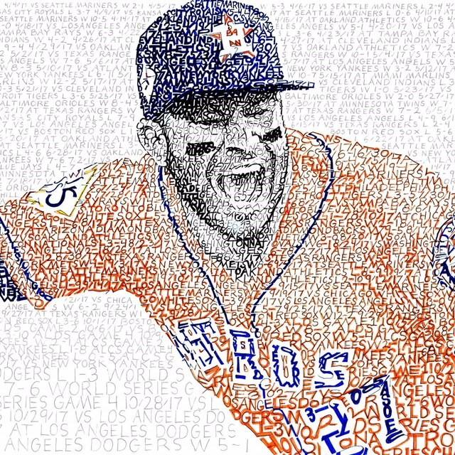 We literally love this print of @JoseAltuve27 ! Daniel Duffy is a self described 'word artist' and it took him 65 hours to create this piece. It features every date, score, and opponent from the @astros season. #EarnedHistory (Credit: Art of Words) https://t.co/IWTiYkSiJn