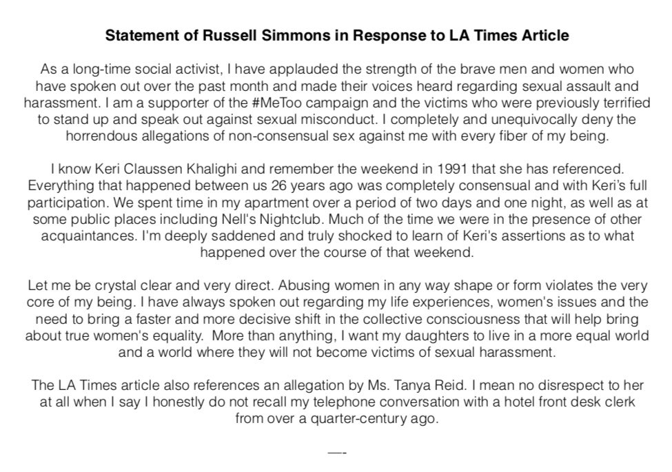Statement of Russell Simmons in Response to LA Times Article. https://t.co/iwT7Wy3SoY