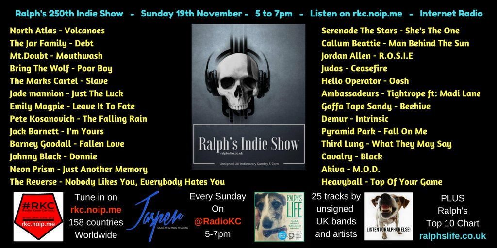 Today!! Awesome! 250th Show, &quot;Ralph&#39;s Life Music&quot;@fruitbatwalton on @RadioKC Congrats to Michael Lindley!! GR8 to be on the same #Team &gt;&gt; #indie #Radio Listen HERE:  http:// rkc.noip.me / &nbsp;    11am, ET . 5pm, UK  ~     #indiemusicblast<br>http://pic.twitter.com/SaQToQQ9AV