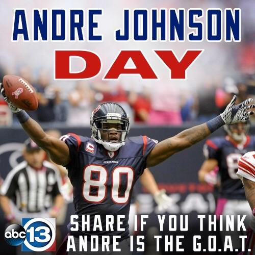 It's officially 'Andre Johnson Day' in Houston! RT if you thinks 'Dre is the #GOAT!! https://t.co/5VyBfm7Ybl #Texans #RingofHonor #TexansGameDayGameDay
