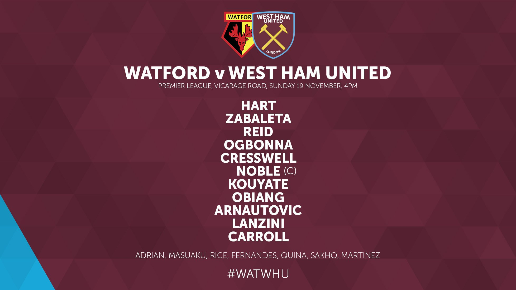 RT @WestHamUtd: Our starting XI for David Moyes' first game...  #WATWHU #COYI https://t.co/MejW1gDoL1