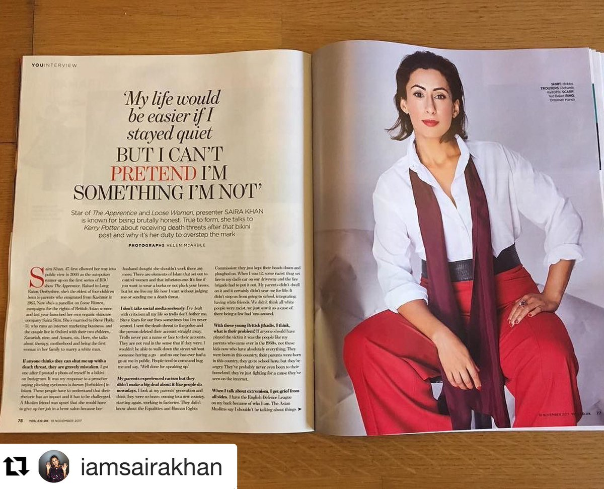 Love this shot of the brilliant @IamSairaKhan in our Sloane Trousers today in @YOUMagSocial styled by fantastic @RachelGold3 Xx #Repost @IamSairaKhan : ready my story on how I've dealt with trolls, low libido, death threats,adoption,Ivf &amp; being different - @loosewomen<br>http://pic.twitter.com/PVdxDiQQIu