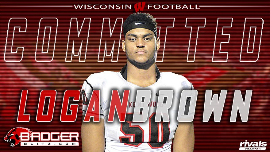 BREAKING: Four-star OL Logan Brown commits to #Wisconsin. No. 3 tackle and No. 28 player in county.  https:// wisconsin.rivals.com/news/wisconsin -secures-a-commitment-from-four-star-ol-logan-brown &nbsp; … <br>http://pic.twitter.com/UV8dgRCzYS