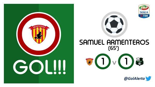 #SerieA   GOL de #Benevento (65&#39;) SAMUEL ARMENTEROS  #Benevento - #Sassuolo @M_A_Moon_ @canteiro_hugo<br>http://pic.twitter.com/UbNcnfkMHK