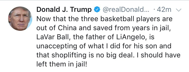 The president says he should have left three American teenagers in jail in China because one of their dads was mean to him.
