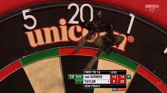 MVG takes out 74, against the throw, with Taylor waiting to have three darts at D20. Live on Sky Sports Action or follow it here: http://skysports.tv/n0xtHO