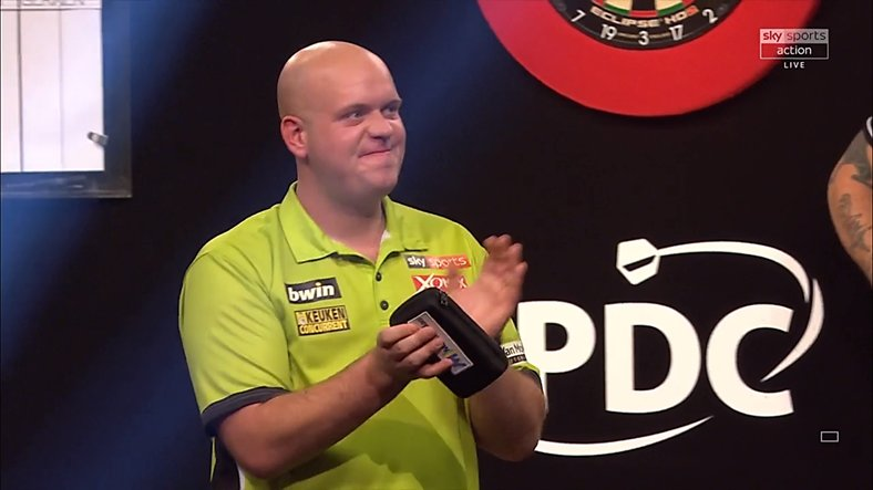 HE'S THERE! Michael van Gerwen races into a third consecutive Grand Slam final after a 16-8 rout of rival Phil Taylor! #LoveTheDarts