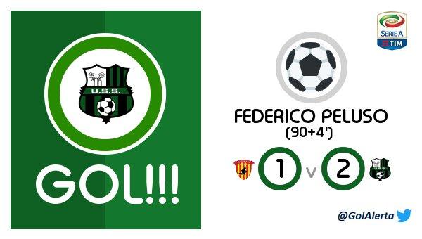 #SerieA   GOL de #Sassuolo (90+4&#39;) FEDERICO PELUSO  #Benevento - #Sassuolo @M_A_Moon_ @canteiro_hugo<br>http://pic.twitter.com/z4HLIFAyhc