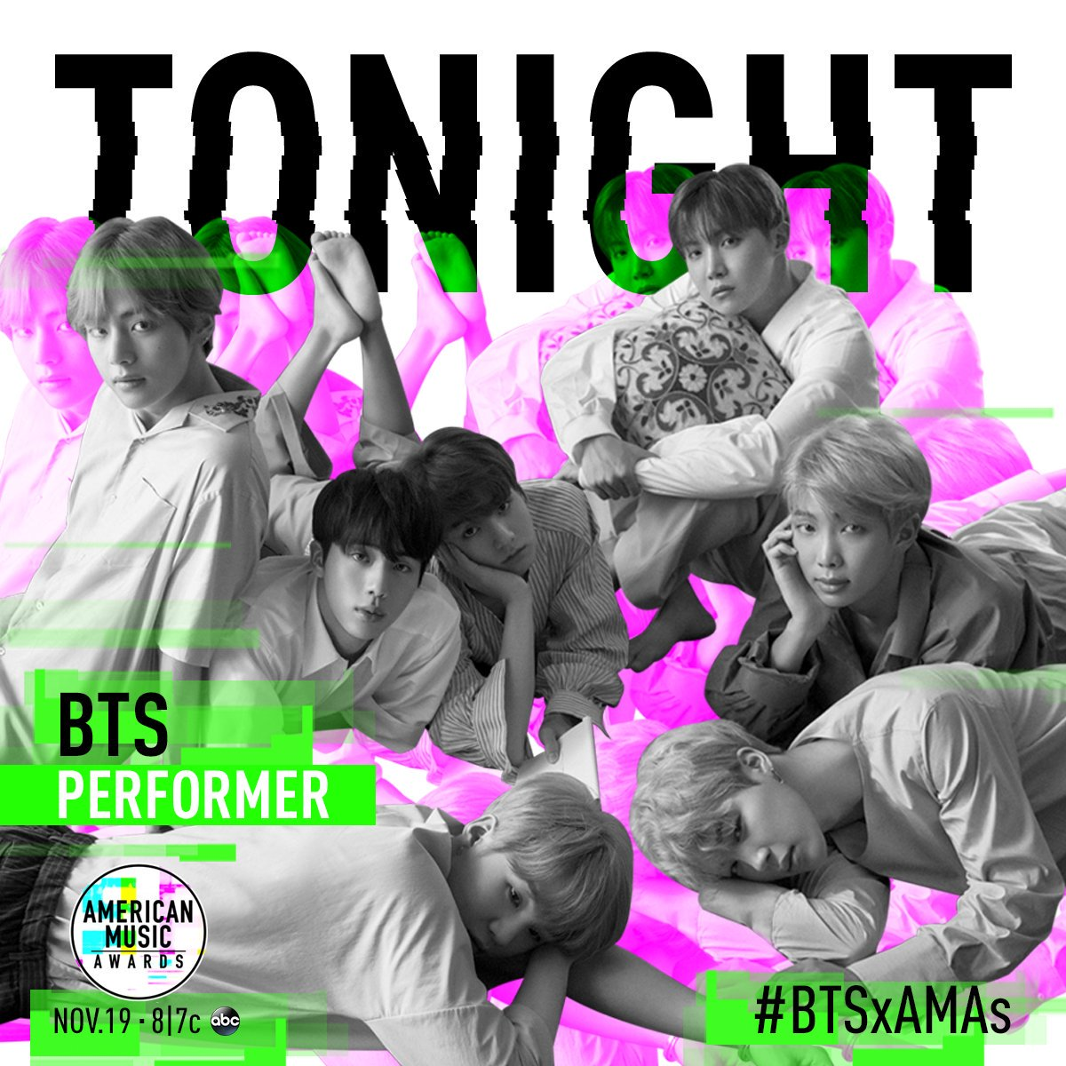 We're SO EXCITED to perform at the @AMAsTONIGHT! It's going to be amazing. LIVE 8/7c on ABC!#BTSxAMAs