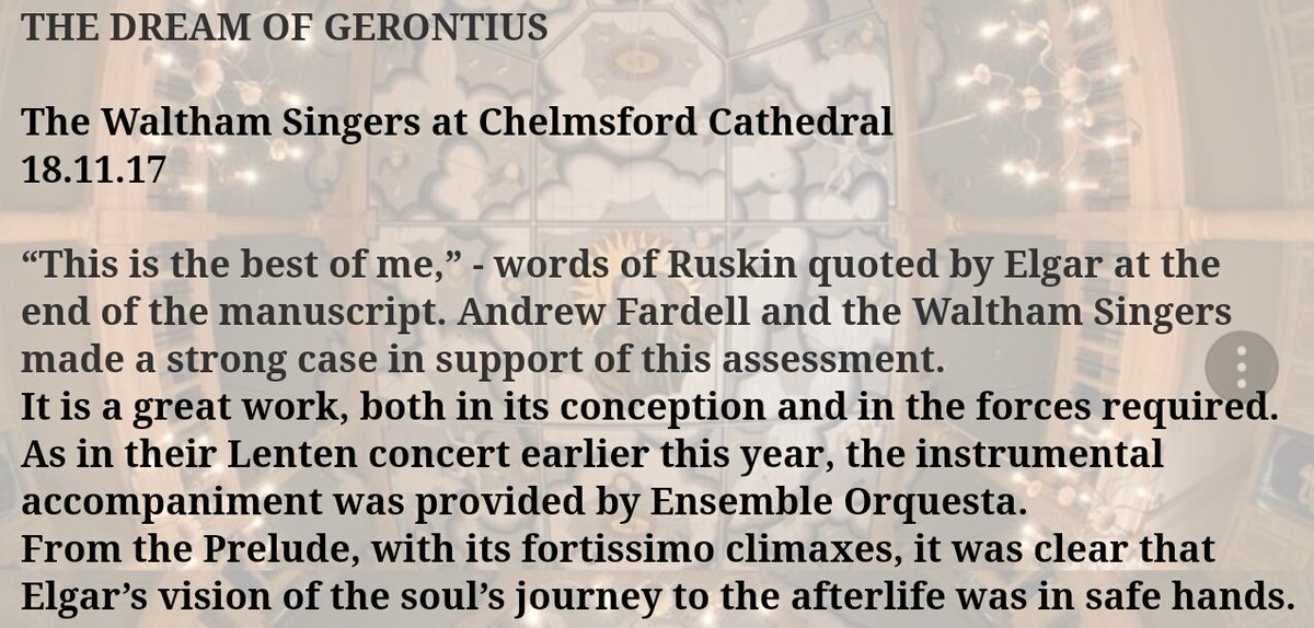 Thank you @MrMichaelGray for your kind words about our performance in last night&#39;s concert @CCathedral with @WalthamSingers!  http:// michaelgray.blogspot.co.uk/2017/11/the-dr eam-of-gerontius.html?utm_source=dlvr.it&amp;utm_medium=twitter&amp;m=1 &nbsp; …  #concert #orchestra #classicalmusic<br>http://pic.twitter.com/9bDybH4gQs