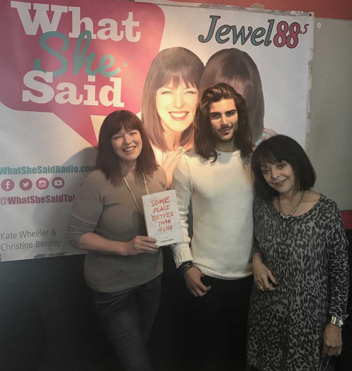 """#TUNEIN to Jewel 88.5 at 10 p.m. tonight with young author, @landenwakil on @whatshesaidtalk discussing his debut novel """"Some Place Better Than Here"""" - #author #writer #YA #novel #book #onair #live #media #evanov #radio #interview #fiction #read #bookclub<br>http://pic.twitter.com/w0YGSAVCCC"""