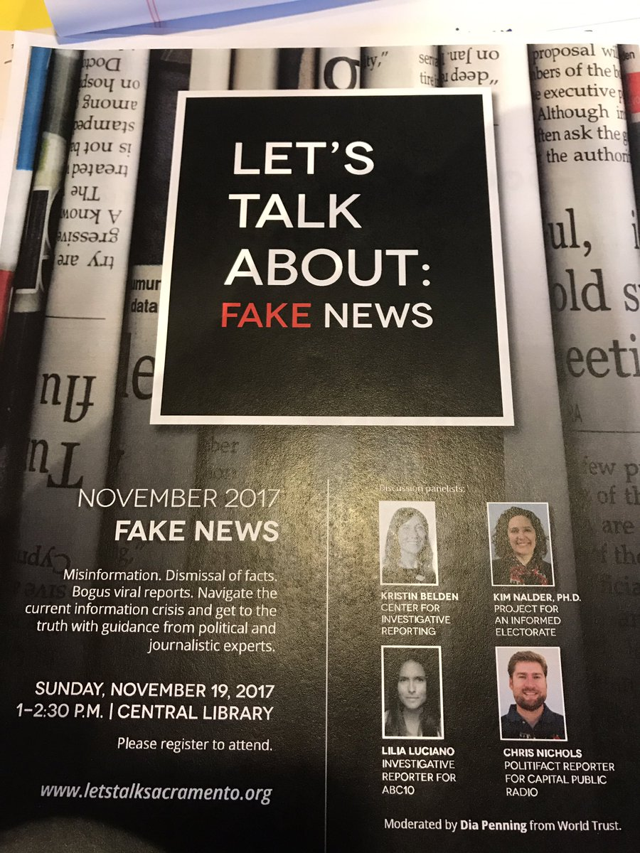 Looking forward to talking about role of @CapRadioNews and @CAPolitiFact fighting #FakeNews @saclib forum today<br>http://pic.twitter.com/2Rbb0PZKaW