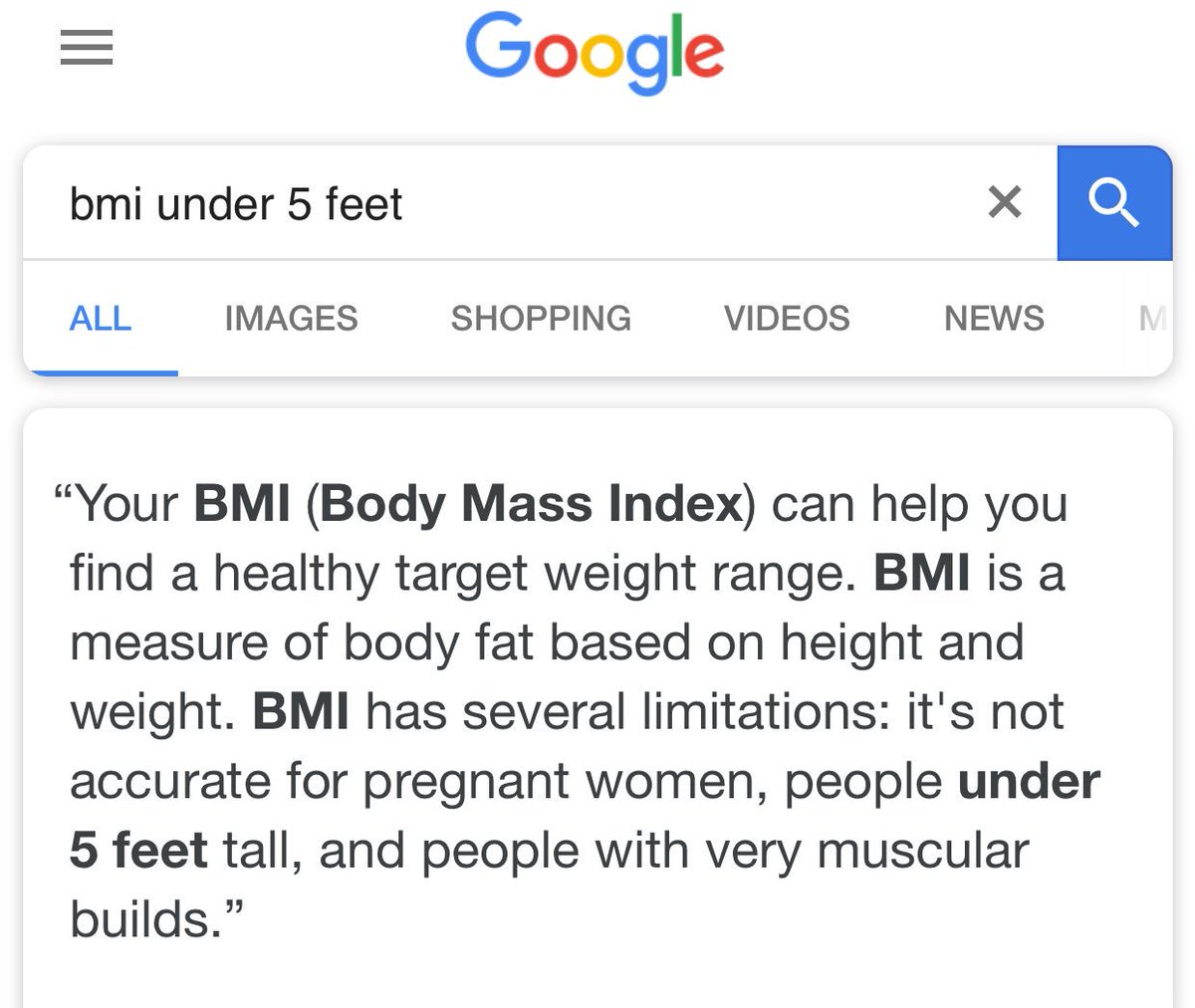 Katie Snooks On Twitter Guys Today I Found Out That Bmi Doesnt Work For People Under 5 Foot Tall Aka Ill Never Know Mine  F0 9f 98 B6