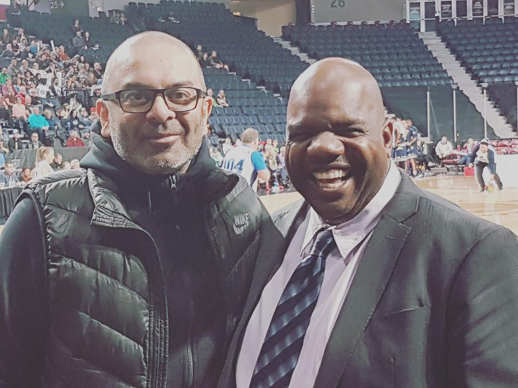 Great to have my high school buddy @royrana in the house taking in some @NBLCanada  action. Rana will guide Team Canada into the FIBA Basketball World Cup 2019 Americas Qualifiers in Halifax starting on Friday! All the best my friend. #BloorCollegiate #BCIBears