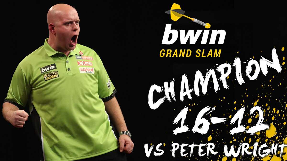 CHAMPION!!Michael van Gerwen wins the @bwin Grand Slam of Darts for a THIRD consecutive year!He beats Peter Wright 16-12!