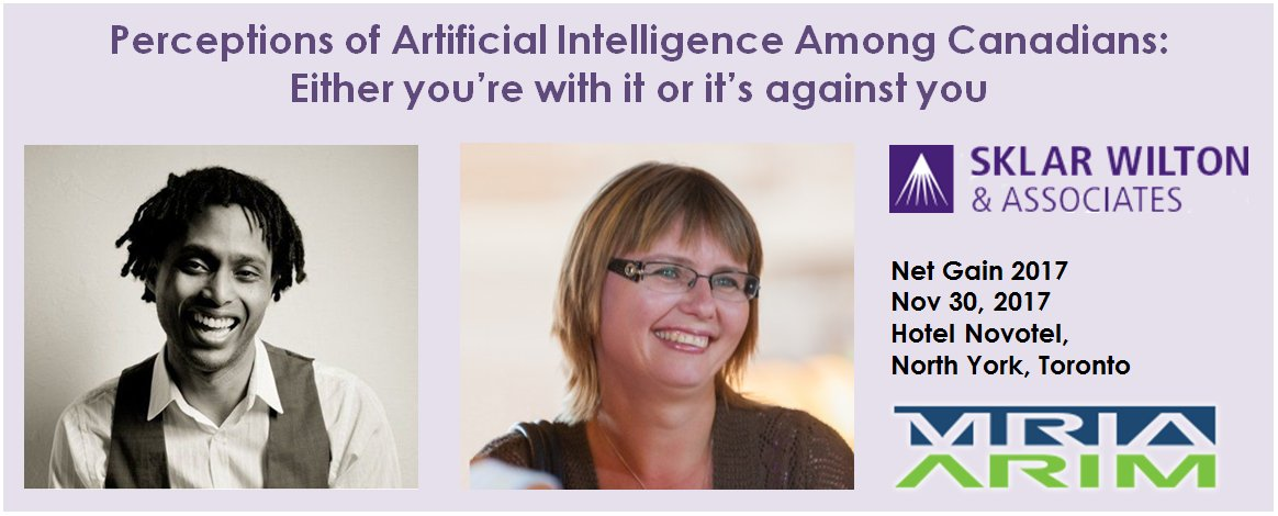 We&#39;re talking about #AI in Canada at the @MRIAARIM Net Gain conference. See you there!   #AI #ArtificialIntelligence #MachineLearning #Deeplearning #MRX #NewMR #BigData #Canada #Toronto  http:// sklar.co/2AQ411z  &nbsp;  <br>http://pic.twitter.com/V4MBXHvzFH