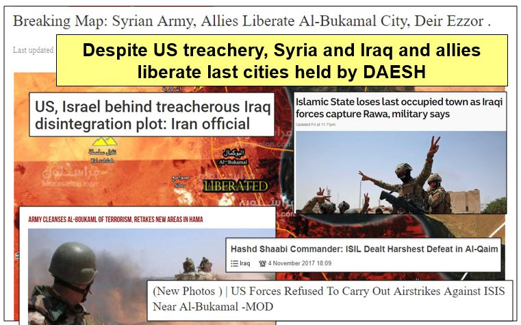 #DAESH / #ISIS ejected by Syrian and Iraqi forces from ALL the cities of #Syria and #Iraq. This #Washington - #Saudi - #Israeli monster was designed to divide and weaken #Lebanon, #Syria, #Iraq and #Iran.<br>http://pic.twitter.com/vV0WDTwTeS