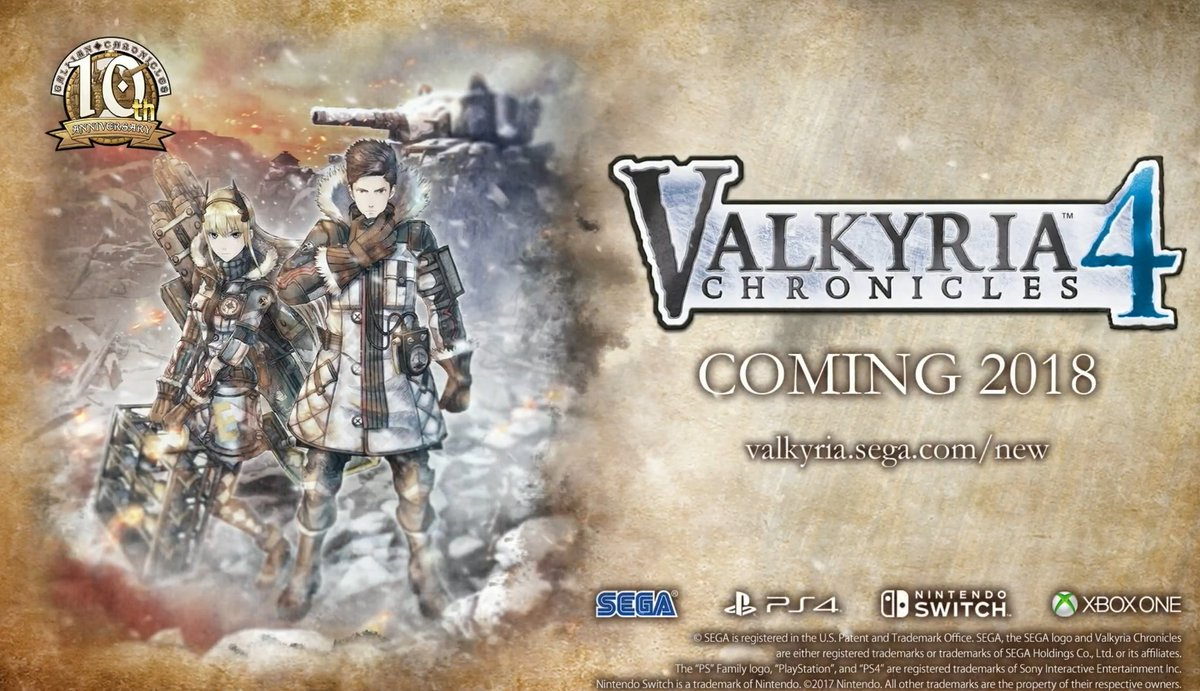 SEGA reveals Valkyria Chronicles 4, coming to Switch