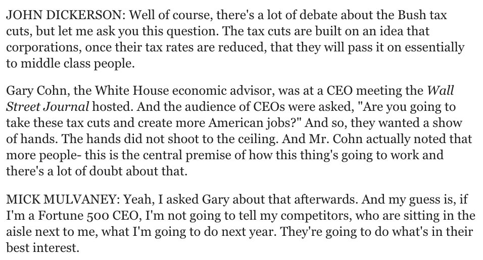 Lol, the REAL reason CEOs didn't raise hands when asked whether they'd invest more if given tax cut, according to Mulvaney: that would be a trade secret! https://t.co/9gfywavEYl