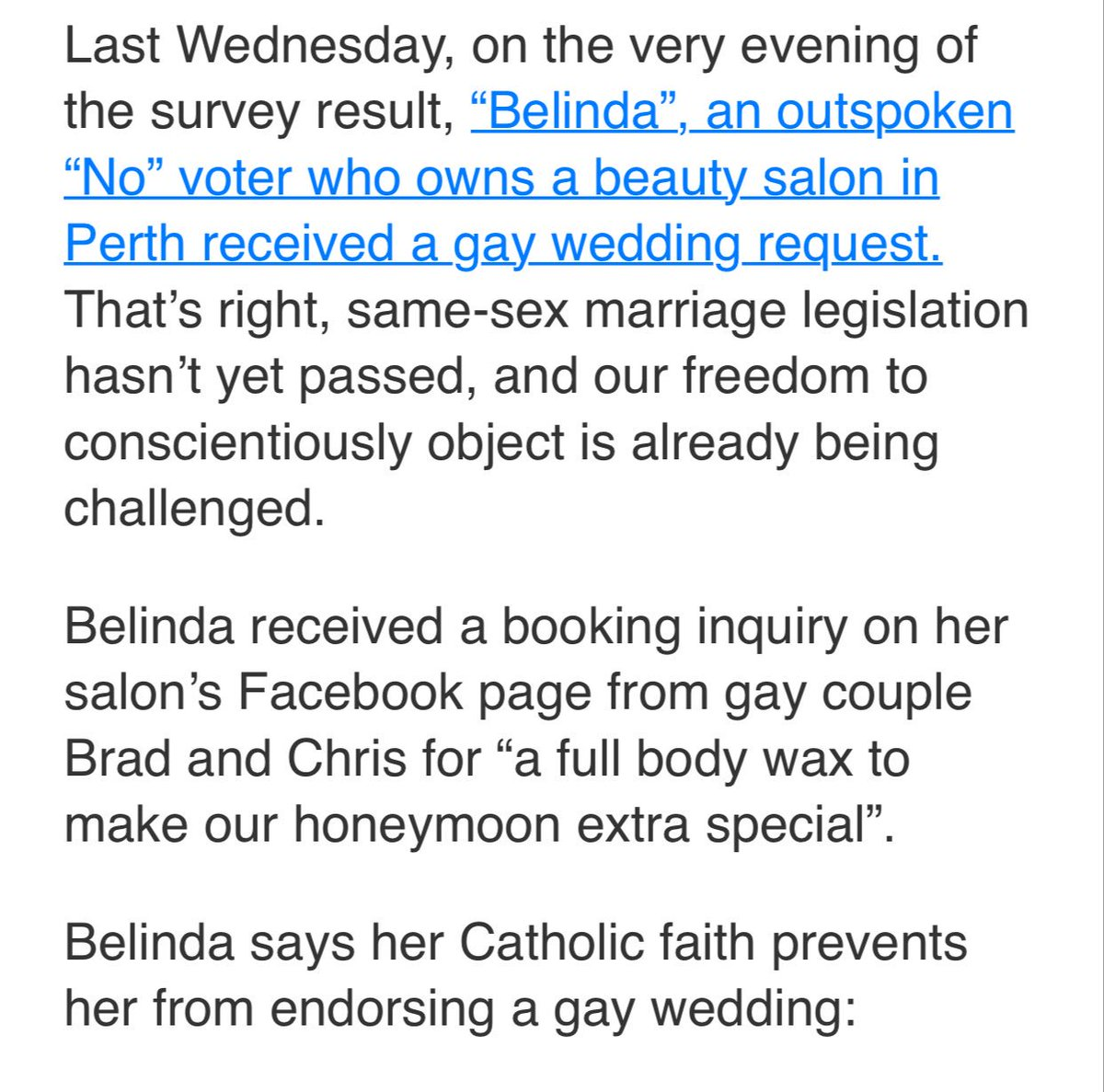 The first case of religious freedom in Australia post the plebiscite is apparently a deeply catholic beautician not wanting to wax some gay balls.