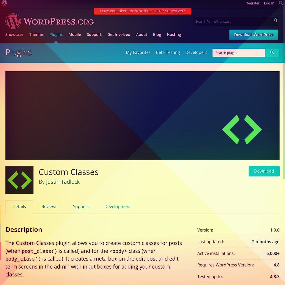 Check out this #plugin to add a #custom classes to #wordpress body per #page/#post. This allows you to do amazing things in #css #js or #jquery like change #site #logos on a per page basis.  https:// en-ca.wordpress.org/plugins/wp-cus tom-body-class/ &nbsp; … <br>http://pic.twitter.com/2RmK67mjME