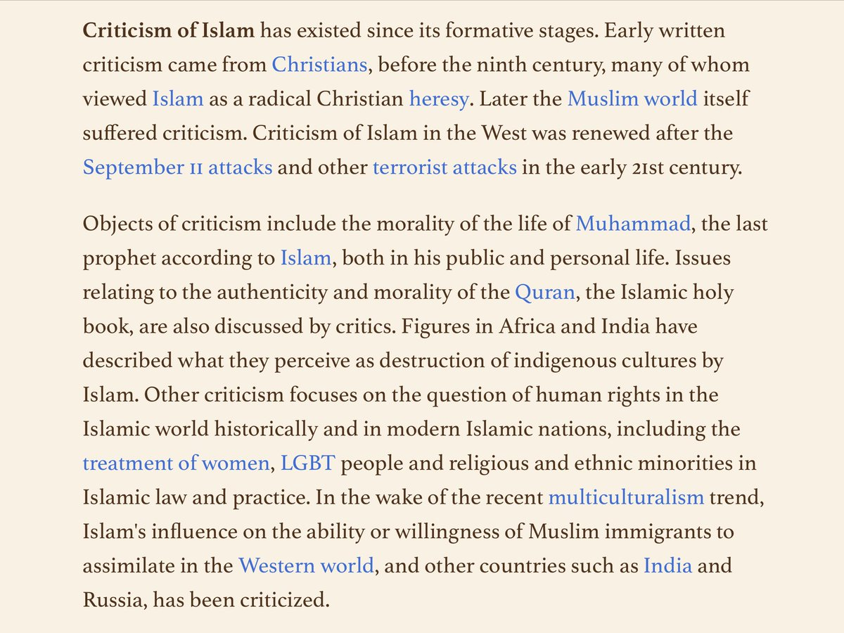 So much is wrong and harmful in #Islam... Definitely more of a problem than, say, Buddhism or Mormonism. #bill62 #M103 #IslamIsTheProblem #Islamization #Islamisation #Islamification  https:// en.m.wikipedia.org/wiki/Criticism _of_Islam &nbsp; … <br>http://pic.twitter.com/qdm16oDSuG