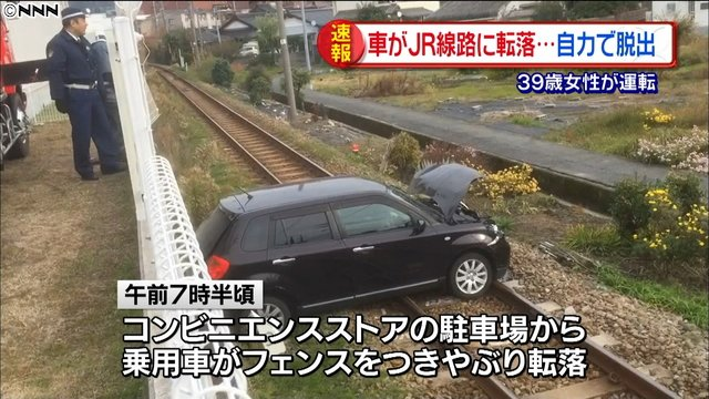 「JR線路に車が落下 1人けが 踏み間違えか 広島」の画像検索結果