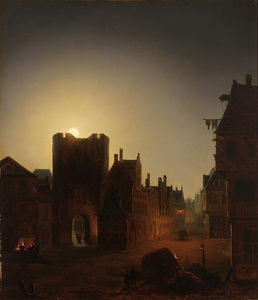 """""""The moon is the reflection of your heart and moonlight is the twinkle of your love.""""Debasish Mridha   Moonlight street scene with figures   Jacob Johann Verreyt (1807-1872) was an Belgian painter.  Beauty of Art #HistoryofPainting #Art #Painting #HistoryofArt<br>http://pic.twitter.com/zvZXrgtzz9"""
