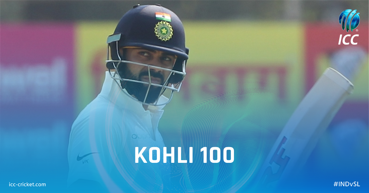 Test century number 18 for Virat Kohli! His third against Sri Lanka and his first at Eden Gardens. #INDvSL