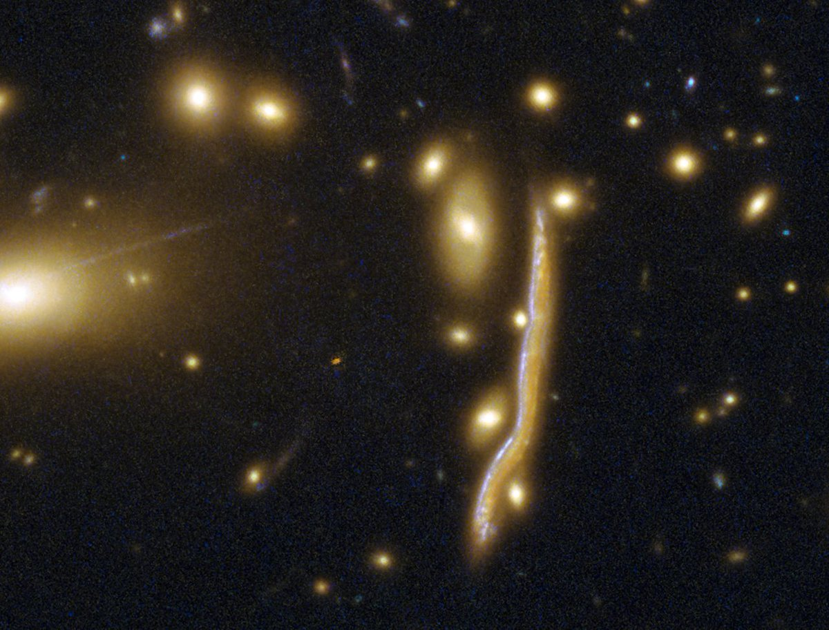 Beware the Cosmic Snake, a distant galaxy peppered with clumpy regions of intense star formation https://t.co/1LDgOvpT4U