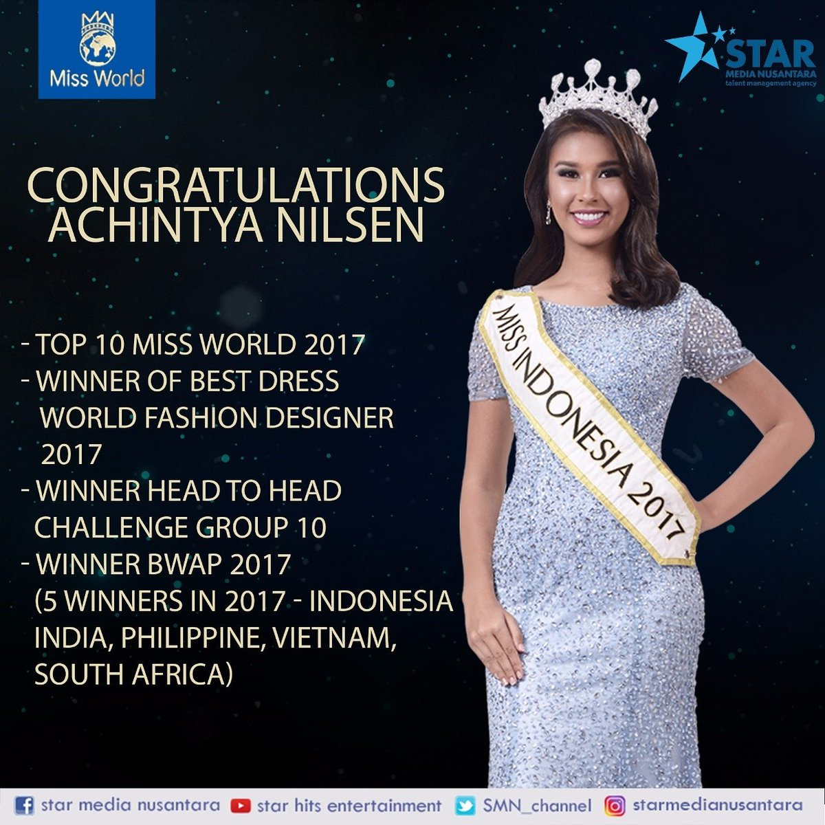 Hitsrec On Twitter Congratulations Tyanilsen Top 10 Miss World 2017 Winner Of Best Dress World Fashion Designer 2017 Winner Head To Head Challenge Group 10 Winner Bwap 2017 5 Winners On 2017