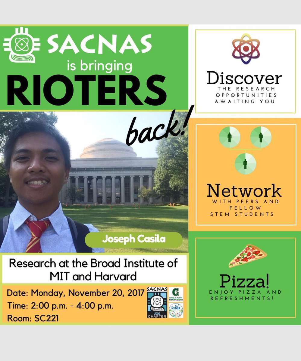 Seminar hosted by @UOGTriton @sacnas Chapter featuring undergraduate student Joseph Casila and his #diabetes #genetics research conducted at @broadinstitute REU over the summer<br>http://pic.twitter.com/w7UsJdOgml