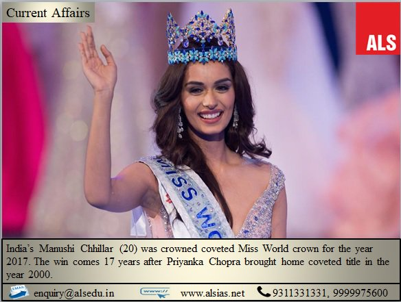 Manushi Chhillar wins Miss World 2017 title.  #ALS #IAS #ALSIAS #UPSC  #CivilServices #MissWorld2017<br>http://pic.twitter.com/SFRS6oAKOv