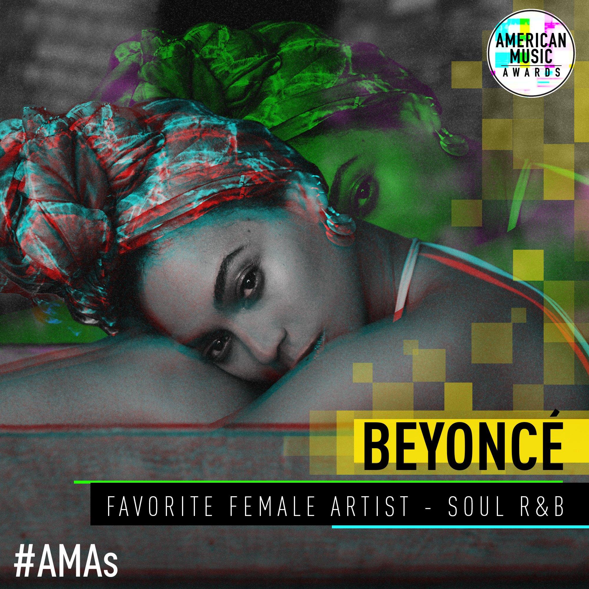 Your 2017 Favorite Female Artist - Soul/R&B is @Beyonce! Congratulations! #AMAs https://t.co/LdtkXtxe6J