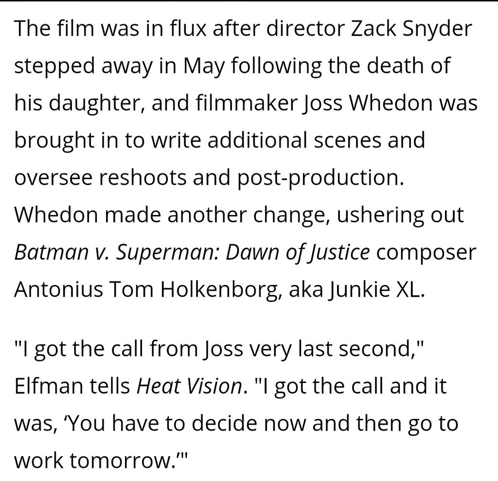 https://t.co/4kMB6MoF6O  Well. So a lot of the movie was re-shot according to Danny #Elfman, who scored the movie as a very last minute thing. Well that explains it. #Score #JusticeLeague https://t.co/Y8vx8huLZe